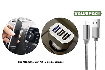 Ultimate Car Kit for Android - Magnetic Air Vent Mount, 3 Port USB Car Charger, USB Cable