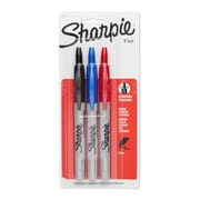 Sharpie® Retractable Fine Point Permanent Markers, Assorted Colors, 3/pk (32726PP)