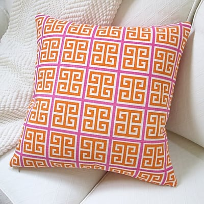 Artisan Pillows Greek Key Geometric Cotton Throw Pillow; Orange/Pink