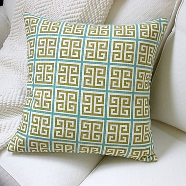 Artisan Pillows Greek Key Geometric Cotton Throw Pillow; Green/Blue