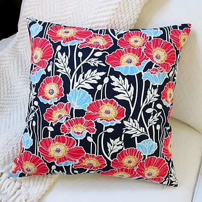 Artisan Pillows Pristine Poppy Cotton Pillow Cover; Midnight Blue
