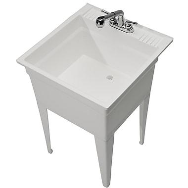 Cashel Heavy Duty 23.75'' x 24.75'' Single Freestanding Laundry Sink w/ Faucet; White