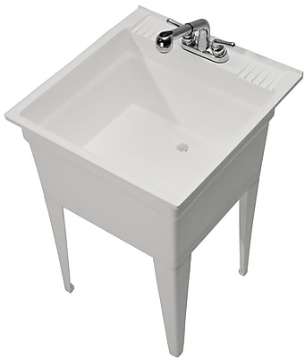 Cashel Heavy Duty 23.75'' x 24.75'' Single Freestanding Laundry Sink w/ Faucet; White