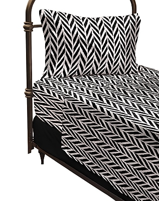 Where the Polka Dots Roam Herringbone Microfiber Sheet Set; Twin