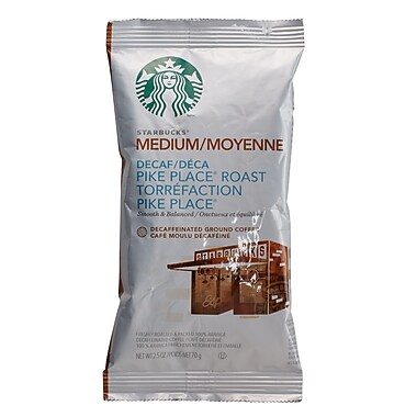 Starbucks® Coffee, Decaf Pike Place® Roast, 2.5oz, 18/Case