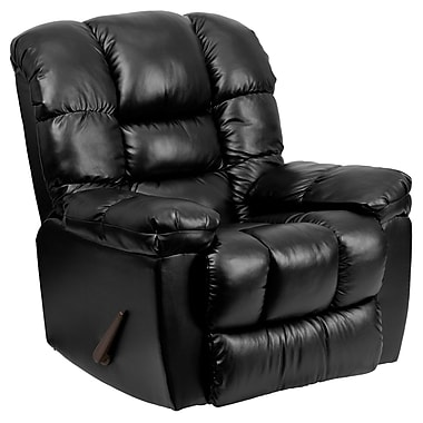 Flash Furniture Contemporary New Era Leather Chaise Rocker Recliner, Black