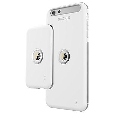 STACKED - Ensemble avec étui Speed pour iPhone 6 Plus/6s Plus, blanc/gris (SPD6P003)