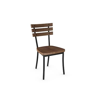 Amisco Dock Metal Chair With Distressed Wood Seat and Backrest (31263-WE/2B5187), 2/Pack