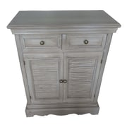 AttractionDesignHome Wood Louvered 2 Drawer Accent Cabinet