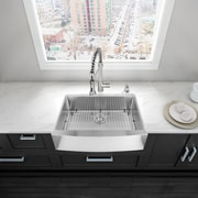 Alma 30 inch Farmhouse Apron Single Bowl 16 Gauge Stainless Steel Kitchen Sink w/ Grid and Strainer