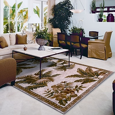 KAS Rugs Sparta Ivory Tropical Oasis Area Rug; Round 7'6''