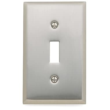 Baldwin Classic Square Bevel Design Single Toggle Switch Plate; Satin Nickel