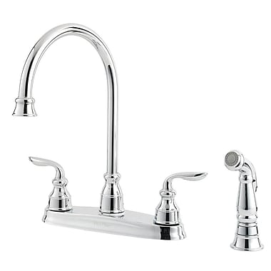 Pfister Avalon Double Handle Deck Mounted Kitchen Faucet w/ Side Spray; Polished Chrome