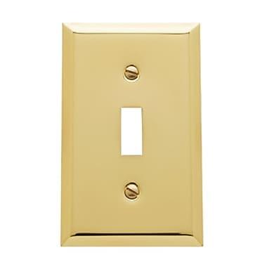 Baldwin Classic Square Bevel Design Single Toggle Switch Plate; Polished Brass
