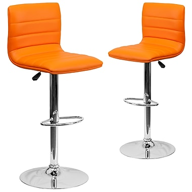 Flash Furniture – Tabouret de bar de 16 x 19 po en vinyle avec base chromée, hauteur réglable, orange