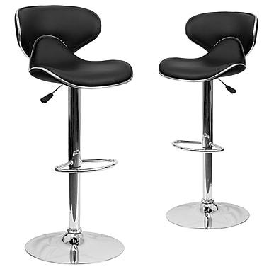 Flash Furniture – Tabouret de bar de 17 1/2 x 17 1/2 po réglable en vinyle à dossier mi-dos confortable avec base chromée, noir