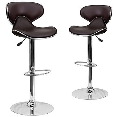 Flash Furniture – Tabouret de bar de 17 1/2 x 17 1/2 po réglable en vinyle à dossier mi-dos confortable avec base chromée, brun