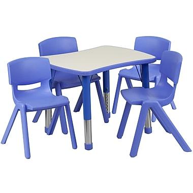 Flash Furniture – Table d'activités rectangulaire (21,88 x 26,63 po) en plastique, bleu (YU09834RECTBLBL)