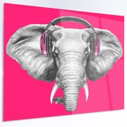 DesignArt 'Elephant w/ Headphones' Graphic Art on Metal; 12'' H x 28'' W x 1'' D