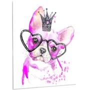 DesignArt 'Cute Pink Dog w/ Heart Glasses' Painting Print on Metal; 28'' H x 12'' W x 1'' D