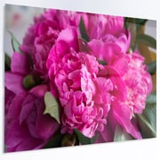 DesignArt Flower 'Pink Peonies on Wooden Background' Photographic Print on Metal