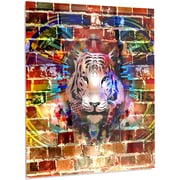 DesignArt 'Tiger over Abstract Brick Design' Graphic Art on Metal; 28'' H x 12'' W x 1'' D