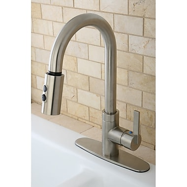 Kingston Brass Continental Gourmetier Pull Down Single Handle Kitchen Faucet; Satin Nickel