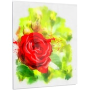 DesignArt 'Bright Red Rose on Light Green' Painting Print on Metal; 28'' H x 12'' W x 1'' D