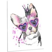 DesignArt 'Sweet Funny Dog w/ Glasses' Painting Print on Metal; 28'' H x 12'' W x 1'' D