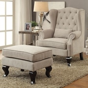 A&J Homes Studio Willow Wingback Chair and Ottoman; Light Gray