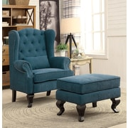 A&J Homes Studio Willow Wingback Chair and Ottoman; Blue