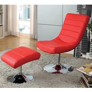 A&J Homes Studio Valerie Lounge Chair w/ Ottoman; Red