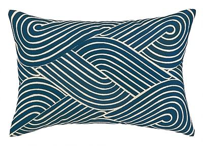 D.L. Rhein Osaka Waves Embroidered Decorative Linen Lumbar Pillow; Navy