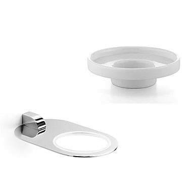 WS Bath Collections Muci Soap Dish; Polished Chrome / Ceramic White