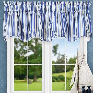 Ellis Curtain Jaden Stripe 70'' Lined Scallop Curtain Valance; Blue