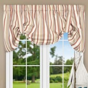 Ellis Curtain Jaden Stripe 60'' Tie-up Curtain Valance; Clay
