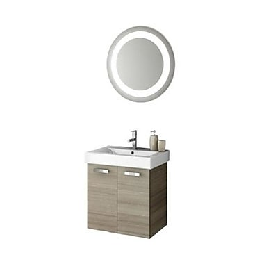 ACF Cubical 24'' Single Bathroom Vanity Set w/ Mirror; Glossy White