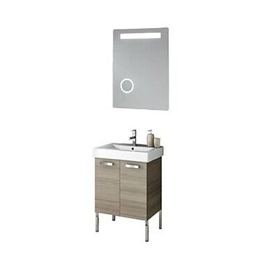 ACF Cubical 24'' Single Bathroom Vanity Set w/ Mirror; Wenge