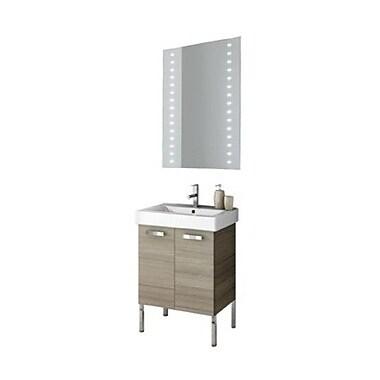 ACF Cubical 24'' Single Bathroom Vanity Set w/ Mirror; Glossy White