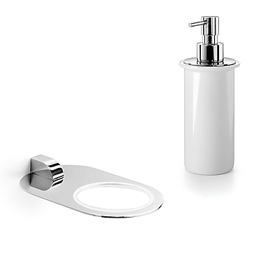 WS Bath Collections Muci Soap Dispenser; Polished Chrome / Ceramic White