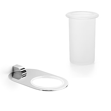 WS Bath Collections Muci Toothbrush Holder & Tumbler; Polished Chrome / Frosted Glass