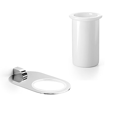 WS Bath Collections Muci Toothbrush Holder & Tumbler; Polished Chrome / Ceramic White