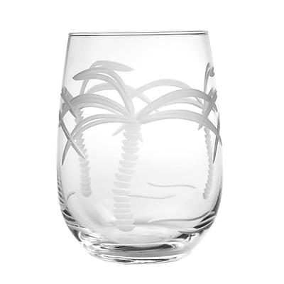 Rolf Glass Palm Tree 17 oz. Stemless Wine Glass (Set of 4)