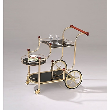 ACME Furniture Lacy Golden Plated and Black Glass Serving Bar Cart