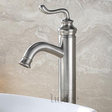 Luxier Hole Lavatory Vanity Vessel Sink Single Handle Standard Bathroom Faucet; Brushed Nickel