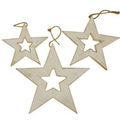 Gracie Oaks 3 Piece Star Shaped Ornament Set; Cream