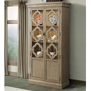 Gracie Oaks Virgouda Standard China Cabinet; Sun-drenched Acacia
