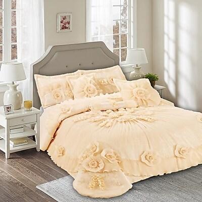 Tache Home Fashion Daffodil 6 Piece Comforter Set; Queen