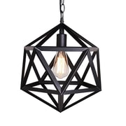 Unitary Metal Cage 1-Light Mini Pendant; Black