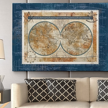 WexfordHome ''Blueprint of the World'' by Carol Robinson Graphic Art on Wrapped Canvas
